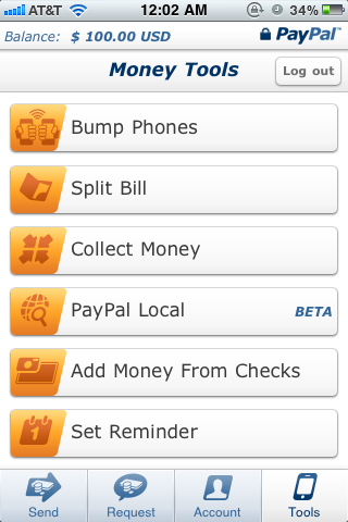 PayPal iPhone app tools